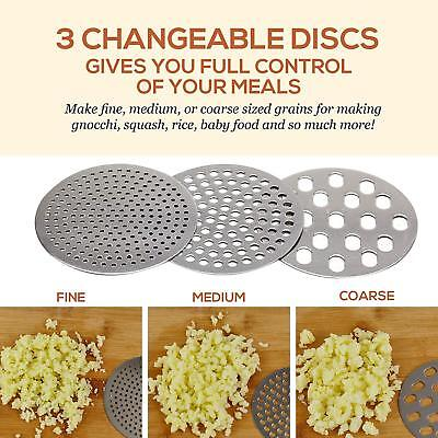 Stainless Steel Potato Ricer,Manual Masher 3 Interchangeable Discs, Fine/Med/Coa 6