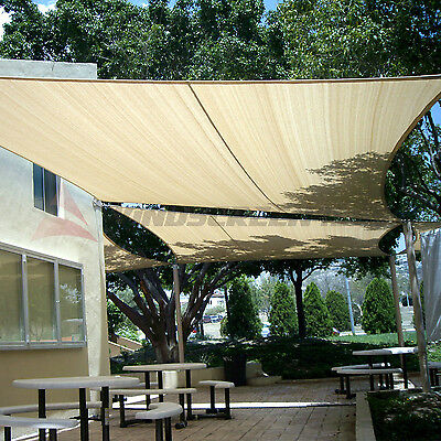 Waterproof Rectangle Sun Shade Sail Fabric Canopy Patio Awning 8 10