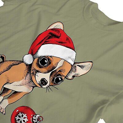 1Tee Womens Puppy Chihuahua Wearing Santa's Hat, Cute Christmas T-Shirt 3