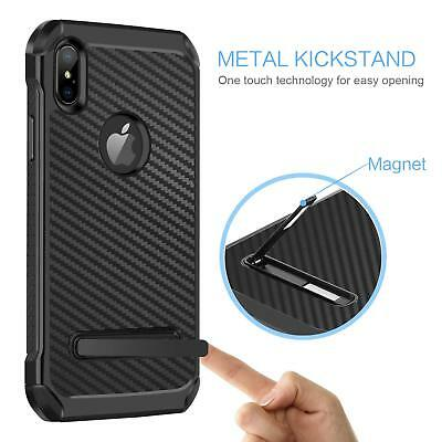 Fits iPhone Carbon Fiber Hybrid Rugged Hard Armor Shockproof Kickstand Case 5