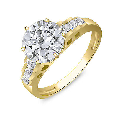 Solid 10K Yellow Gold Fancy Design Solitaire Engagement Ring Cubic Zirconia 2
