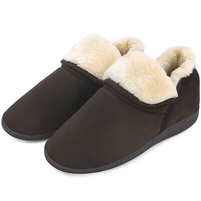 Men's Plush Warm Ankle Bootie Slippers Fuzzy Memory Foam Winter House Shoes 8