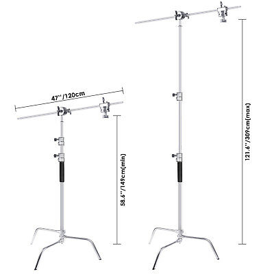 Neewer Upgraded Heavy Duty Stainless Steel C-Stand with Hold Arm and Grip Head 4