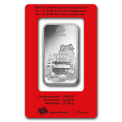 1 oz Silver Bar - PAMP Suisse (Year of the Pig) - SKU#173451 2