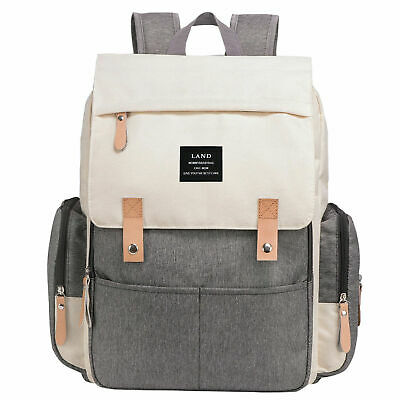 LAND Waterproof Mommy Baby Diaper Bag Nappy Backpack + Stroller Hooks 7