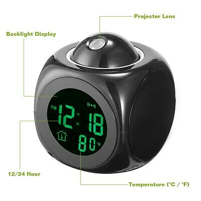 Alarm Clock LED Wall/Ceiling Projection LCD Digital Voice Talking Temperature 4