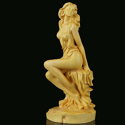 Boxwood Carving Solid Wood Beauty Figure Goddess Doll