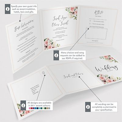 Personalised Tri-Fold Wedding Invitations Includes RSVP, Poem or Info Cards (G3) 2