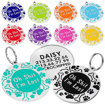 Dog ID Tag Free Custom Personalized Engraved Enamel Pet Puppy Cat Name Charm S L 5