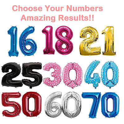 """40"""" Large Foil Number Balloons Giant Letter Birthday Age Party Helium Events 2"""
