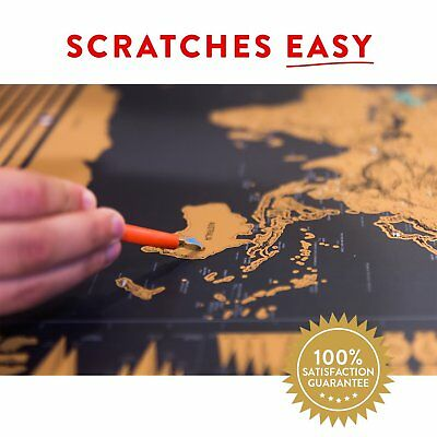 Large Premium Deluxe Glossy Scratch Off World Map Poster Decor Atlas with Tools 11