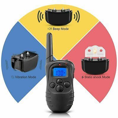 Dog Pet Electric Shock Training Collar Waterproof Rechargeable Remote 330Yard 7