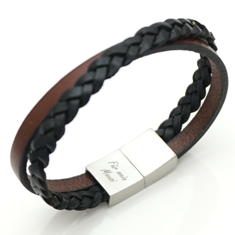 online spätester Verkauf am modischsten LEDERARMBAND GRAVUR DAMEN Herren schwarz braun Unisex Armband mit Gravur  GONAS21