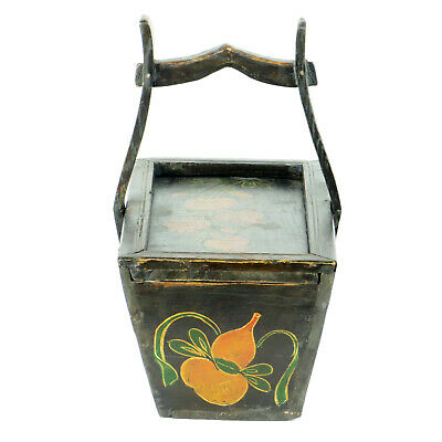 Small Antique Chinese Painted Food Utility Box, Black with Colorful Paintings 3