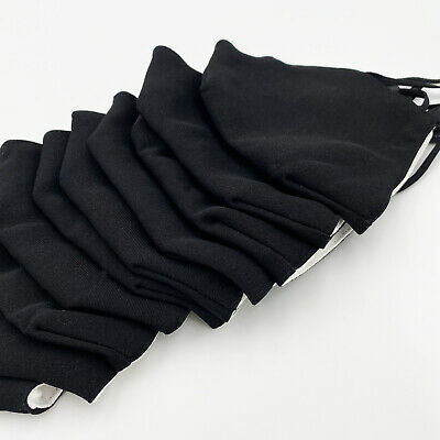 [3 PACK] Black Handmade Reusable Washable Cotton Cloth Face Mask 2 Layers Cover 5