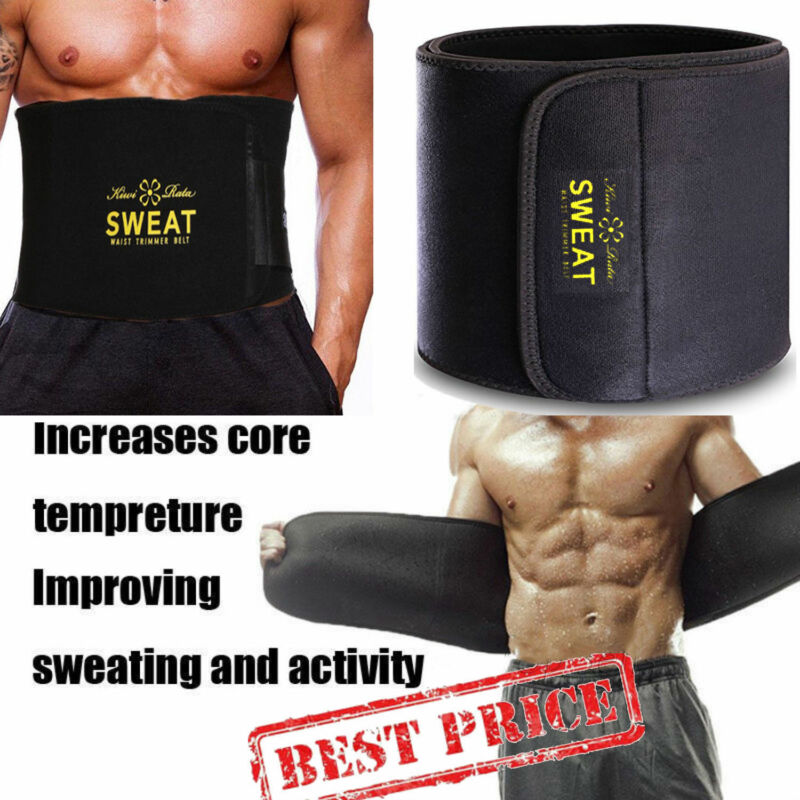 Hot Men's Neoprene Sauna Shapewear Sweat Belt Waist Cincher Trainer Body Shaper 7