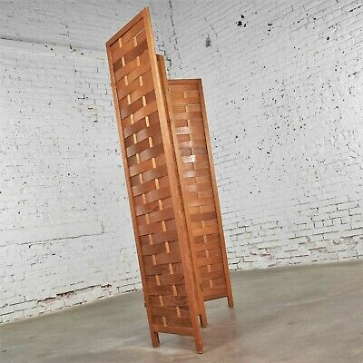 Mid Century Woven Wood Folding Screen 4 Panel Room Divider in Pine 7