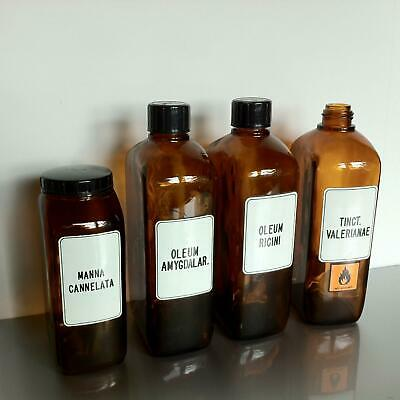(b50) Braune Schraubgläser Apotheke Arzt Vorrat Tee 1l 1000ml Apothekerflaschen 3