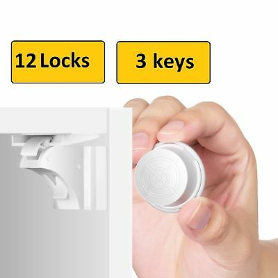 Invisible Magnetic Baby Child Pet Proof Cupboard Door Drawer Safety Lock Catch 10