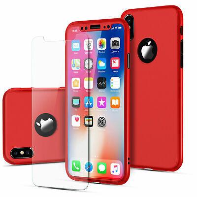 Coque 360 pour iPhone XS Max XR 6s 7 8 Plus 5 5S SE Protection Antichoc + Verre 9