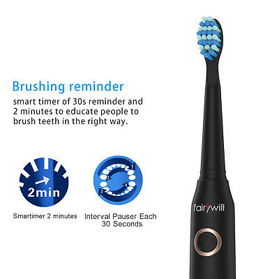 Fairywill Sonic Electric Toothbrush Rechargeable 5 Modes Long Battery Life Quiet 2