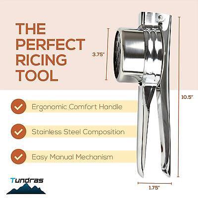 Stainless Steel Potato Ricer,Manual Masher 3 Interchangeable Discs, Fine/Med/Coa 4
