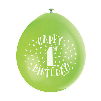 """10 HAPPY 1st BIRTHDAY 9"""" BLUE PINK MIX Latex Balloons Party Decoration Air Fill 11"""