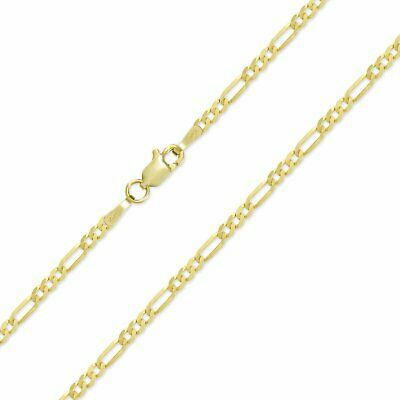 """10K Solid Yellow Gold Figaro Chain Link Pendant Necklace 16"""" 18"""" 20"""" 22"""" 24"""" 30"""" 2"""