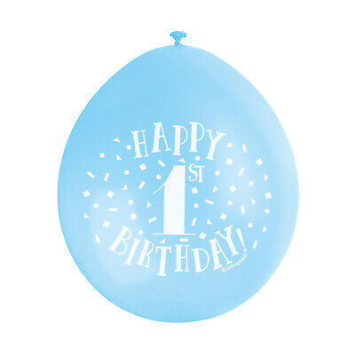 """10 HAPPY 1st BIRTHDAY 9"""" BLUE PINK MIX Latex Balloons Party Decoration Air Fill 5"""