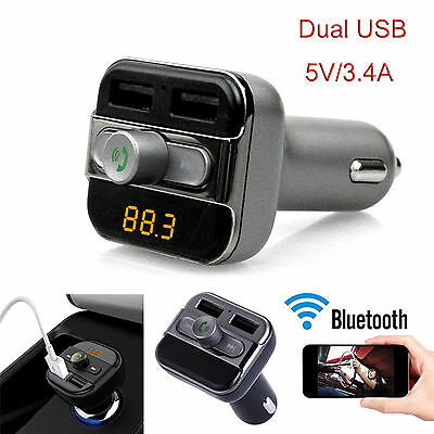 New Bluetooth Car Kit Wireless FM Transmitter Dual USB Charger Audio MP3 Player 8