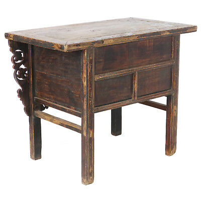 """Antique Chinese Asian 43 """" Wide 3 Drawer Table Coffer Cabinet Vanity 10"""