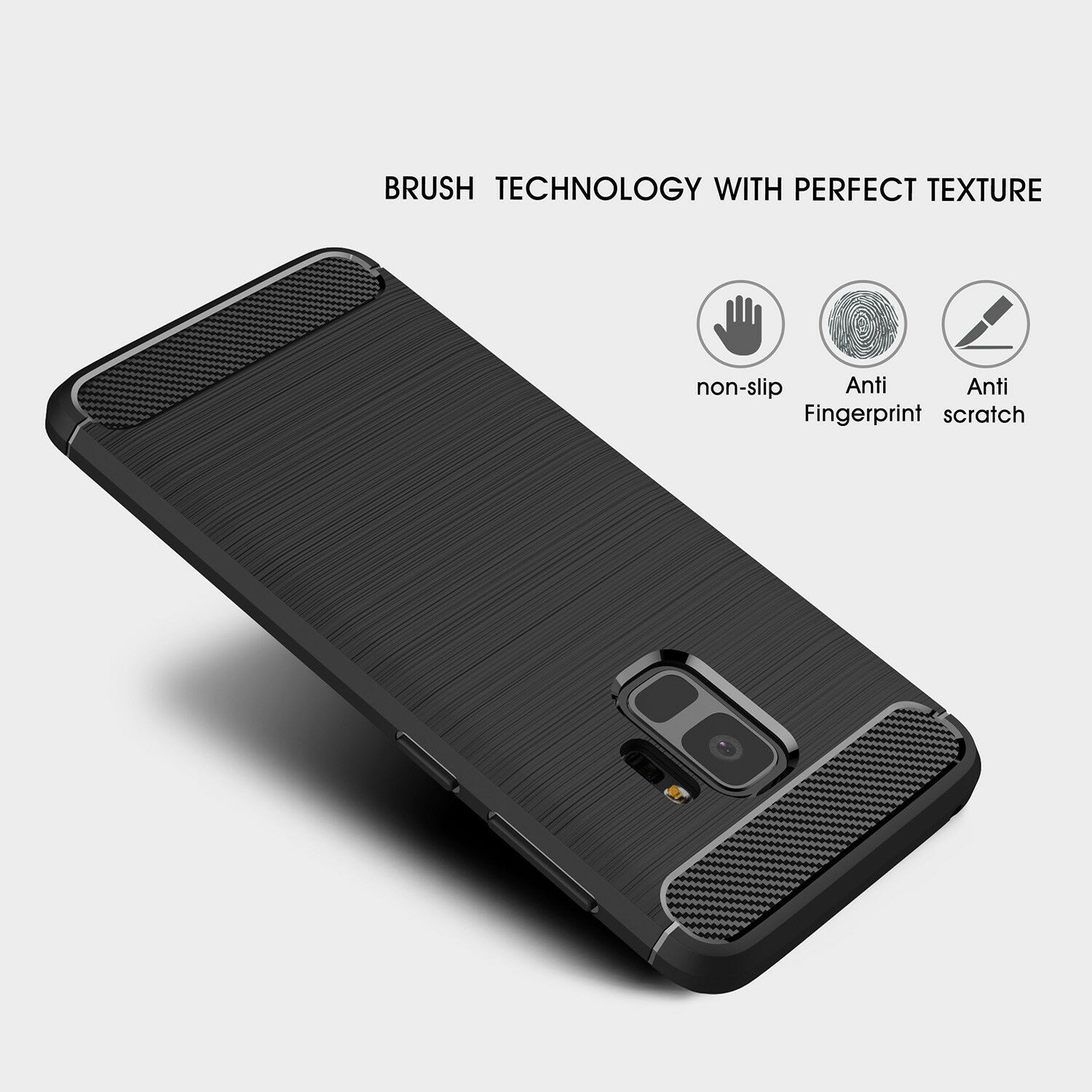 For Samsung Galaxy S6 S7 Edge S8 S9 Plus Note 8 Note 9 Carbon Fiber Slim Case 3