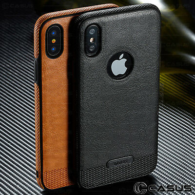 SLIM Luxury Leather Back Ultra Thin TPU Case Cover for iPhone X & 8/7/6s Plus 6