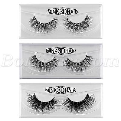 cb64c55ca30 ... 1Pair 100% Mink Hair Natural Long Eye Lashes False 3D Eyelashes  Handmade Makeup 2