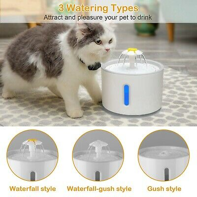 2.4L Automatic Pet Cat Water Fountain Drinking Dispenser LED Light Ultra Silent 2