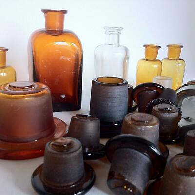 (b99) KONVOLUT Apothekerflaschen Deckel Apotheke Arzt Vorrat Stopfen Sammlung 4