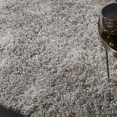 5.5cm Silver Grey Large SHAGGY Floor RUG Soft SPARKLE Shimmer Glitter Thick Pile 5