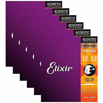 3pcs Elixir 16052 Phosphor Bronze Light Acoustic Guitar Strings .012 - .053 4