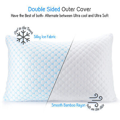 ❄Heat /& Moisture Reducing Ice Silk//Gel Infused Memory Foam Pillow King 4 Pack