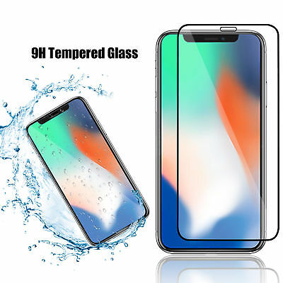 For iPhone X XS Max XR 7 8 Plus Full Coverage Tempered Glass Screen Protector /s 2