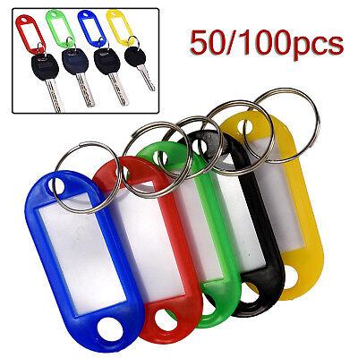 Lots 50-100PCS Tough Plastic Key Luggage Tags W/Split Ring Label Window 5-color 3