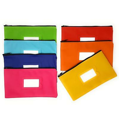 0726-048.C Zipper Bank Deposit Money Bags Cash Coin Pencil Pouch 5 Pack in Red
