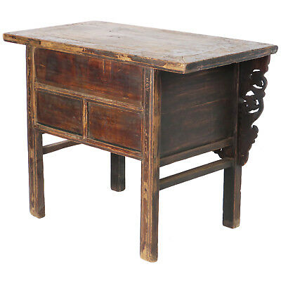 """Antique Chinese Asian 43 """" Wide 3 Drawer Table Coffer Cabinet Vanity 11"""