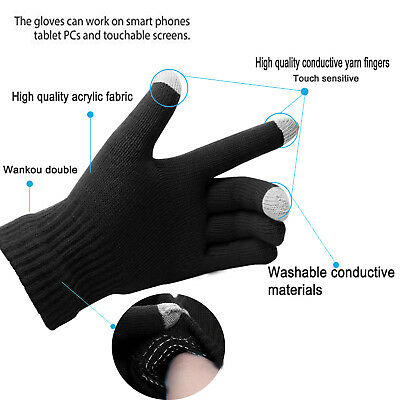 Mens Thermal Thinsulate Knitted Full Finger Gloves Winter Warm Cold Woolly Mitts 2