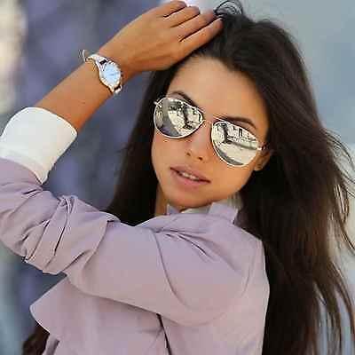 Men Women Vintage Retro Aviator Sunglasses Silver Mirrored Lens