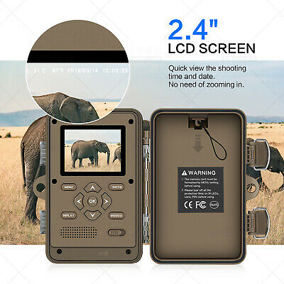 16MP Trail Camera IP66 Waterproof Outdoor Hunting Cam with No Glow Night Vision 2