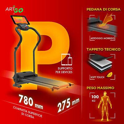 TAPIS ROULANT ELETTRICO PIEGHEVOLE 600 W (2,5 HP PICCO) ARTGO PABLO 7 Km/h MAX 2