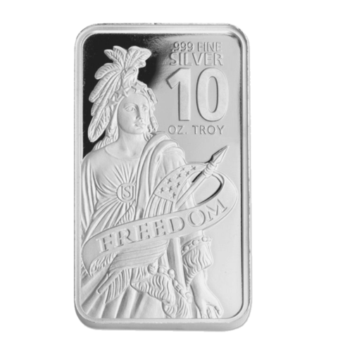10 oz DGSE 0.999 Silver Bar - Freedom Symbol Stamped 4