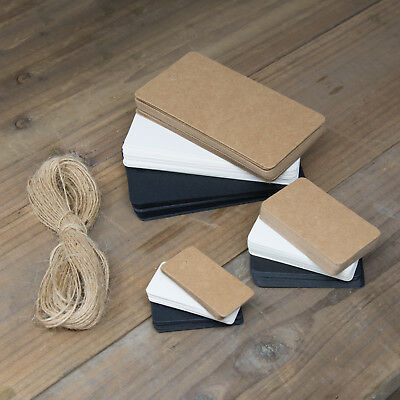 ECO KRAFT Paper Gift TAGS Card Label | Free string | 100 Per Pack | UK Seller 3