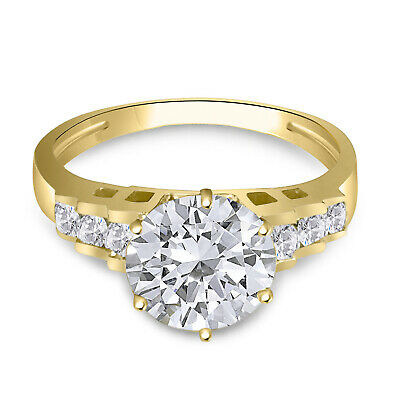 Solid 10K Yellow Gold Fancy Design Solitaire Engagement Ring Cubic Zirconia 3